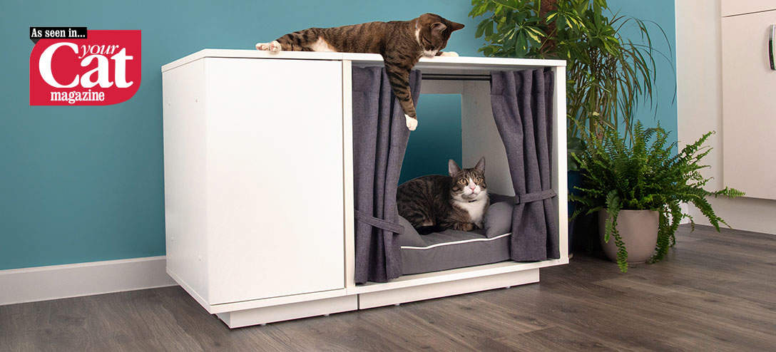 The Maya Nook indoor cat house is available in two sizes and features optional curtains that can be used to create an enclosed sanctuary of calm