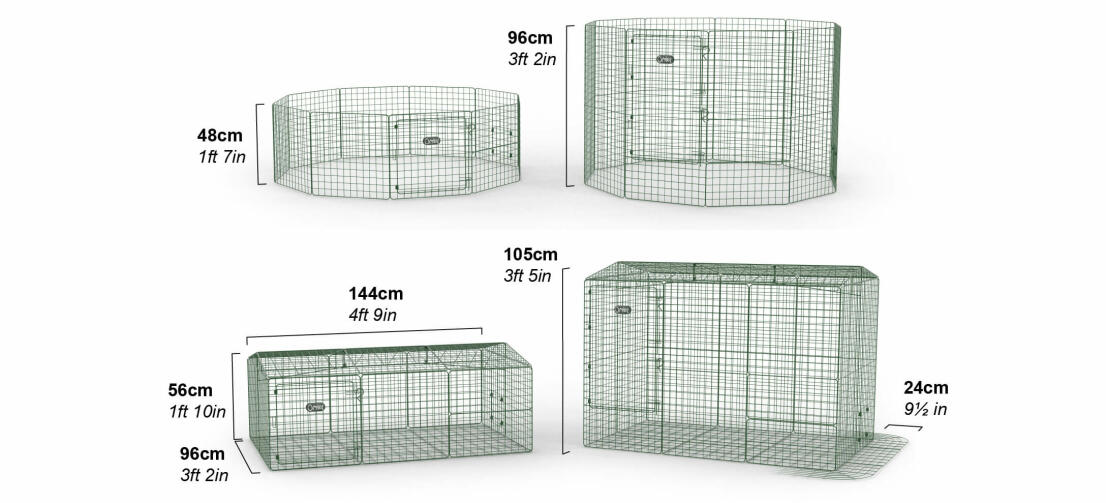 Zippi Rabbit Runs and Playpens are available in two heights. You can also add a roof and underfloor mesh.