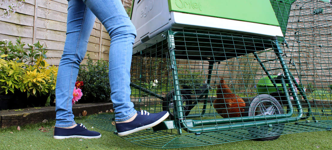 Choose optional wheels for easy movement of the Eglu Go UP Chicken Coop