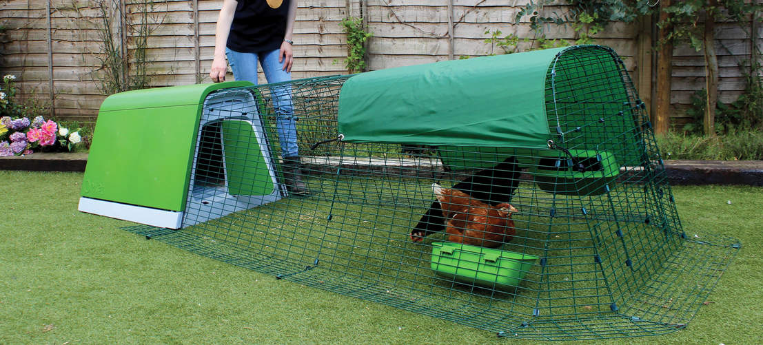 A range of weather proof shades are available to add to the run of the Eglu Go chicken coop - the stylish and contemporary choice of the modern backyard chicken keeper!