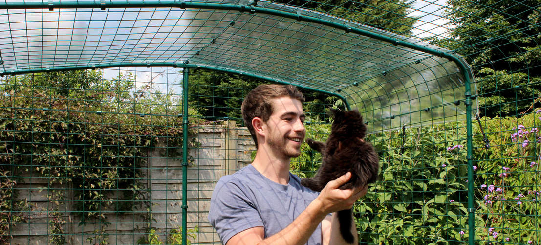 The height of the Catio Outdoor Cat Enclosure allows you to walk inside to spend time with your cats