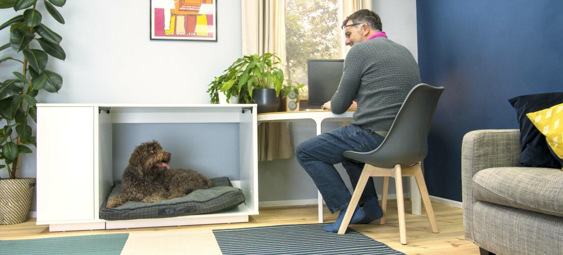Add your favourite dog bed to the Fido Nook to create a super comfy dog house