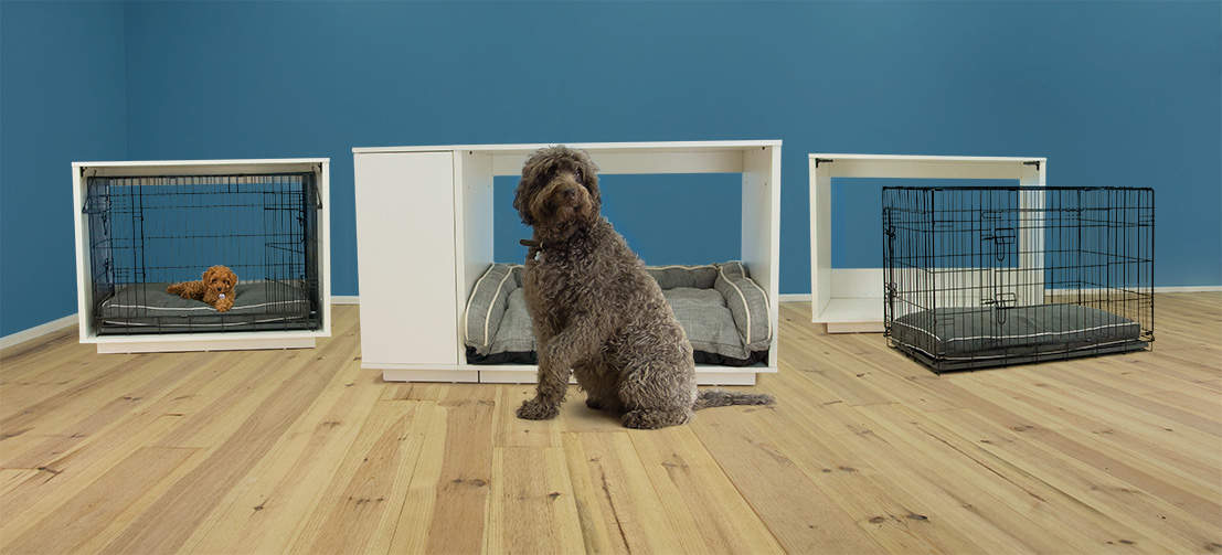 The Omlet Fido Nook has a removable crate for puppy training and transport