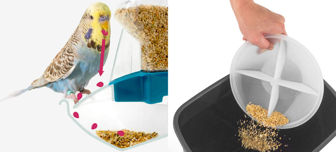 Intelligently engineered to catch and contain any spilled husks and seeds, the Geo feeder keeps your bird cage and home clean