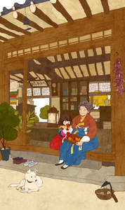A traditional cartoon drawing of a Korean Jindo