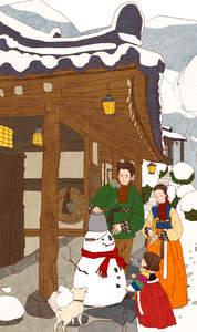 A traditional cartoon of a Korean Jindo