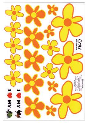 Eglu stickerset - gele en oranje bloemen