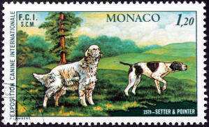 An English Setter and a Pointer on a Western European stamp