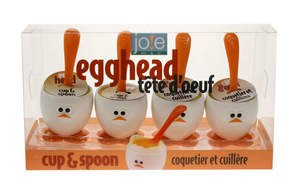 Egghead Set of 4 Egg Cups and Spoons