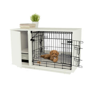 Fido Nook 24 Dog House with Crate and Wardrobe - White