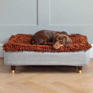 Topology Dog Bed with Microfibre Topper and Brass Cap Wood Feet  - Small