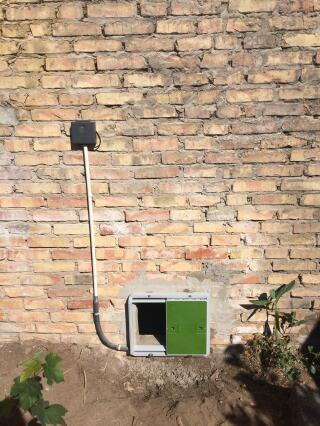 Porte fixée sur un mur en brique