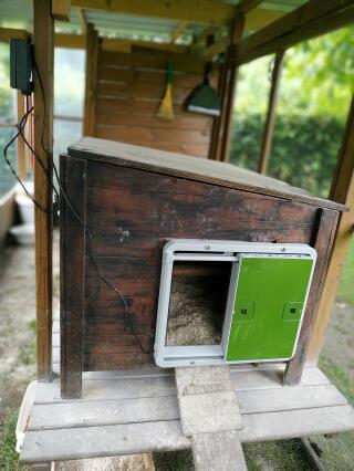 porte placée sur poulailler en bois sans problème