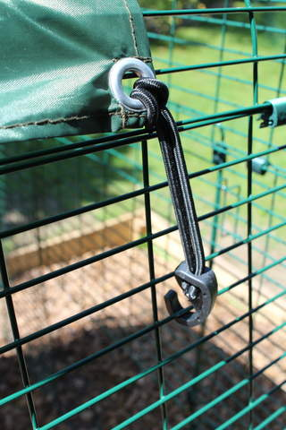 Bungee Hook holding summer shade in place