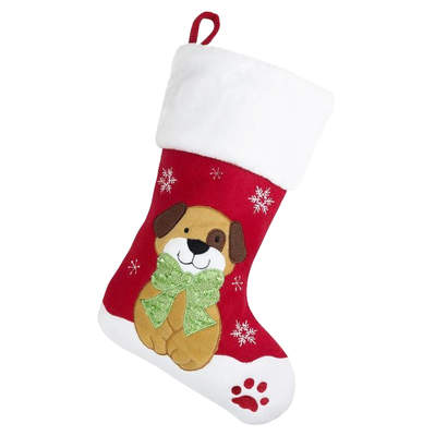 Deluxe Plush Christmas Stocking - Dog Design
