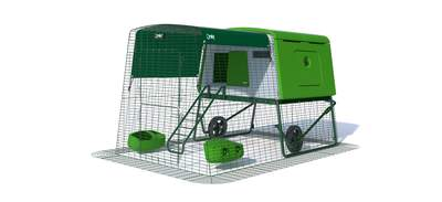 Eglu Cube Large Chicken Coop with 6ft Run and Wheels Package - Leaf Green