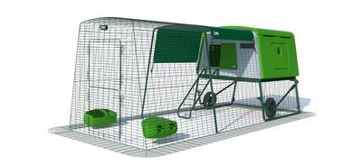 Eglu Cube Mk2 with 3m Run and Wheels Package - Leaf Green