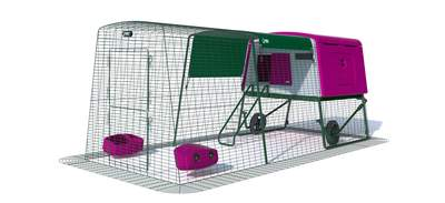 Eglu Cube Large Chicken Coop with 9ft Run and Wheels Package - Purple