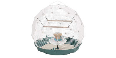 Geo Bird Cage - Teal and White