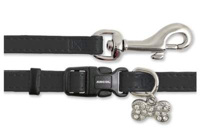 Small Bite Collar & Lead Set Deluxe Jewel Black