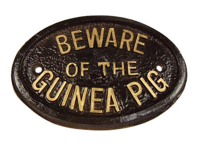 """Beware of the Guinea Pig"" skilt"
