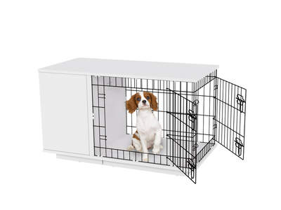 Fido Studio 24 Dog Crate with Wardrobe - White