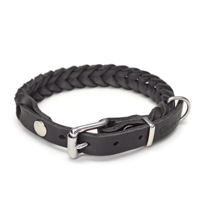 Cloud7 leren halsband Central Park - Zwart - Small