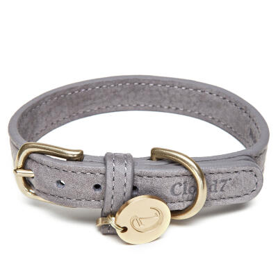 Cloud7 Leather Dog Collar Taupe - Extra Small