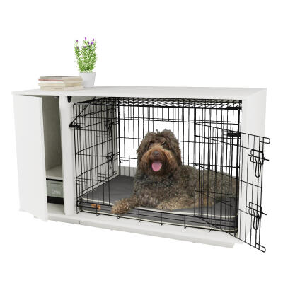 Fido Nook 36 Dog House with Crate and Wardrobe - White