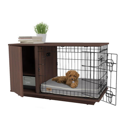 Fido Studio 24 Dog Crate with Closet - Walnut