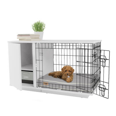 Fido Studio 24 Dog Crate with Closet - White