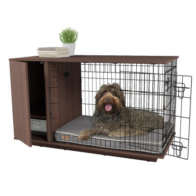 Fido Studio 36 Dog Crate with Closet - Walnut