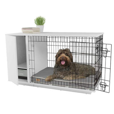 Fido Studio 36 Dog Crate with Closet - White
