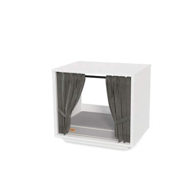 Maya Nook 24 Indoor Cat House with Bed and Curtains - White