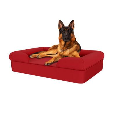 Memory Foam Bolster Dog Bed - Large - Merlot Red