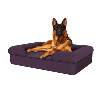 Memory Foam Bolster Dog Bed - Large - Plum Purple