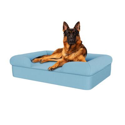 Memory Foam Bolster Dog Bed - Large - Sky Blue
