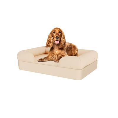 Memory Foam Bolster Dog Bed - Medium - Natural Beige