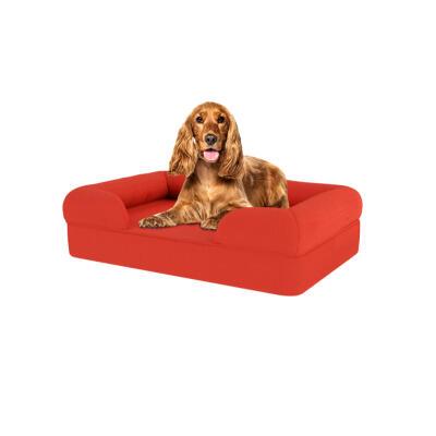 Memory Foam Bolster Dog Bed - Medium - Cherry Red