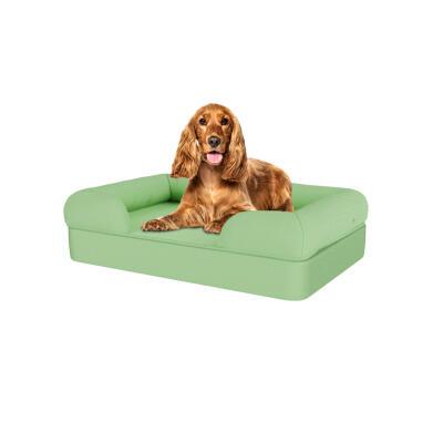 Memory Foam Bolster Dog Bed - Medium - Matcha Green