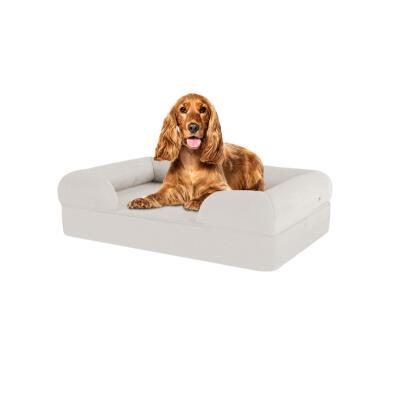Memory Foam Bolster Dog Bed - Medium - Meringue White