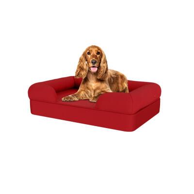 Memory Foam Bolster Dog Bed - Medium - Merlot Red