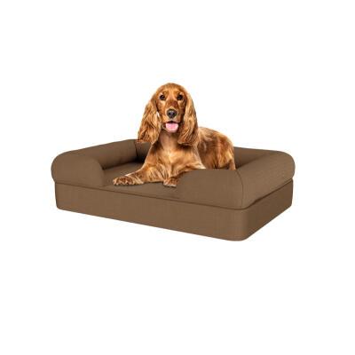 Memory Foam Bolster Dog Bed - Medium - Mocha Brown