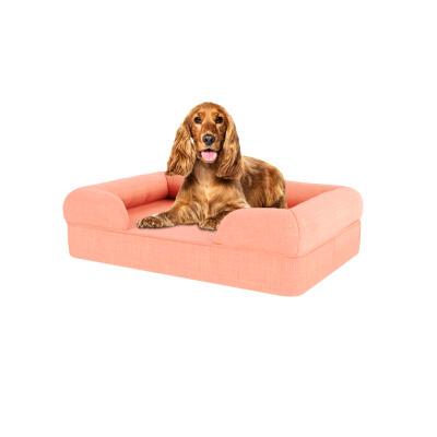 Memory Foam Bolster Dog Bed - Medium - Peach Pink