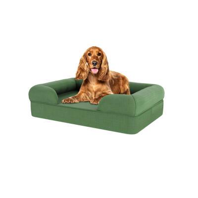 Memory Foam Bolster Dog Bed - Medium - Sage Green