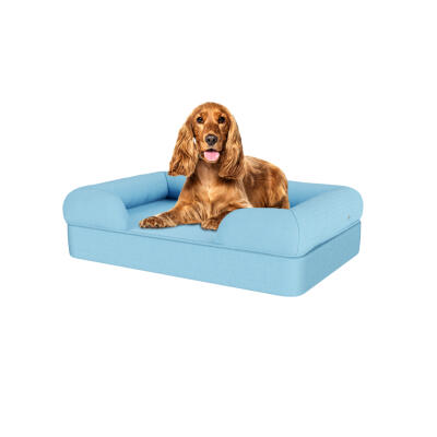 Memory Foam Bolster Dog Bed - Medium - Sky Blue