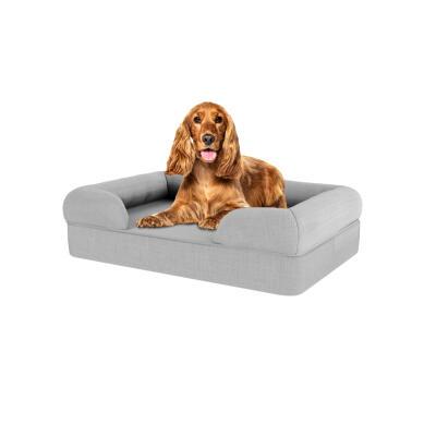 Memory Foam Bolster Dog Bed - Medium - Stone Grey