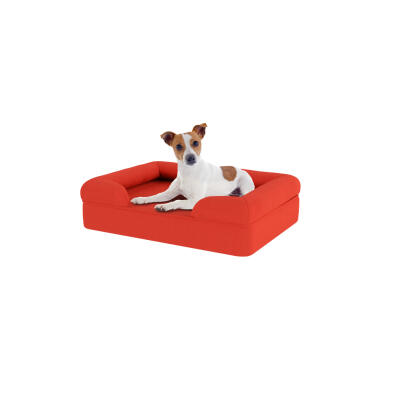 Memory Foam Bolster Dog Bed - Small - Cherry Red