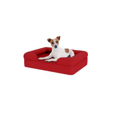 Memory Foam Bolster Dog Bed - Small - Merlot Red