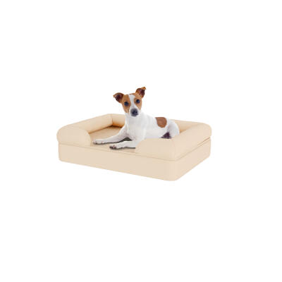 Memory Foam Bolster Dog Bed - Small - Natural Beige